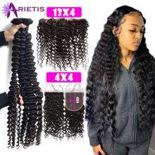 32 34 36 38 40 polegada onda profunda pacotes com fechamento brasileiro remy feixes de cabelo humano com água frontal encaracolado & 4x4 fechamento do laço
