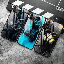 Capa preta brilhante homem legal antigas máscara caso do telefone vidro temperado para iphone 12 pro max mini 11pro xr xs max 8x7 6s 6 mais se