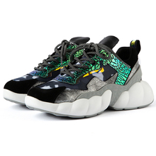 2019 Fashion Style Platform Gold Silver Chunky Sneakers Dad Shoes Basket Femme Women Vulcanize Y106