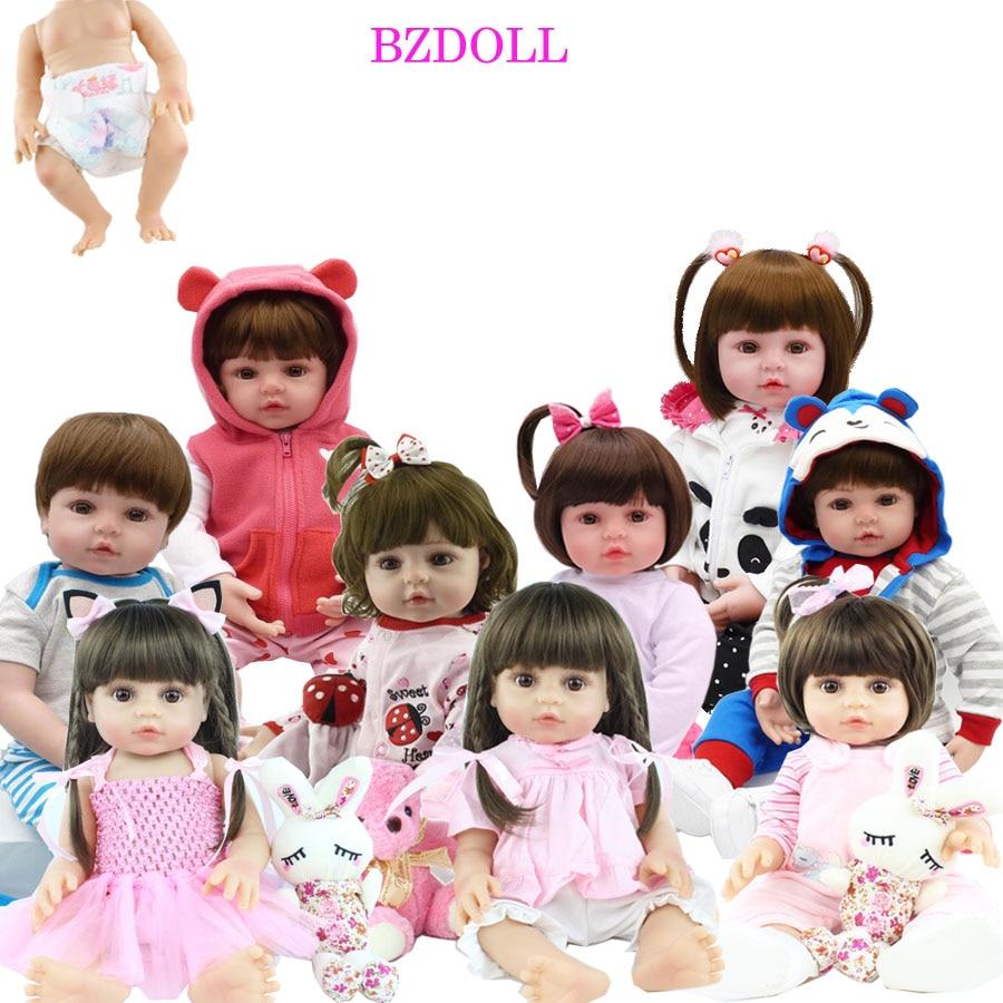 Lebensechte 48 CM Volle Silikon Weichen Körper Mädchen Junge Reborn Baby Puppe Spielzeug Wie Lebendig 19 Zoll Prinzessin Geburtstag Geschenk mode Präsentieren