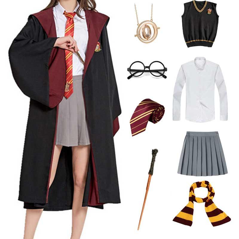 Meninas meninos hermione granger traje de halloween slytherin hufflepuff manto cachecol varinha festa cosplay crianças bruxa roupas