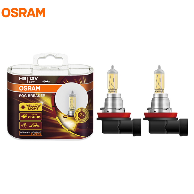 OSRAM Fog Breaker H8 12V 35W 62212FBR 2600K Yellow Light Car Halogen Lamp Headlight +60% Brighten