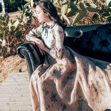 Весеннее женское платье, Ретро стиль, цветочный принт, рукав-фонарик, отложной воротник, миди, Vestidos, настоящая фотография