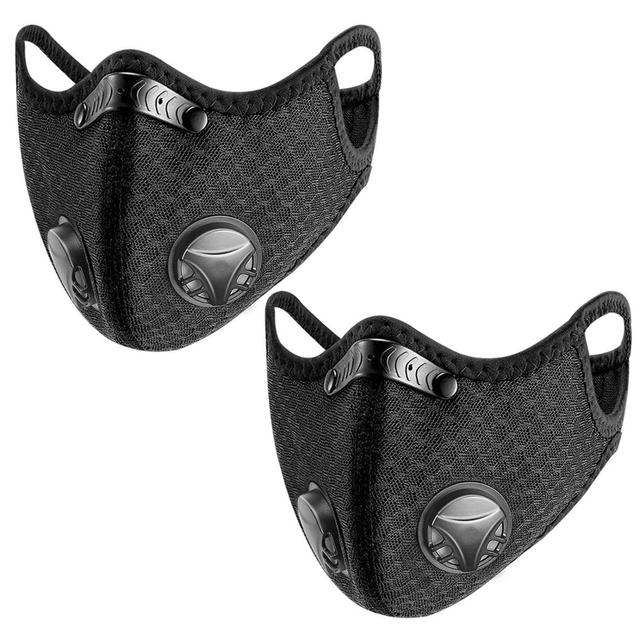 2PCS Fabric Face Mask With Filte Activated Carbon PM 2.5 Anti Pollution Running Cycling Masks Sport Protection Facemask