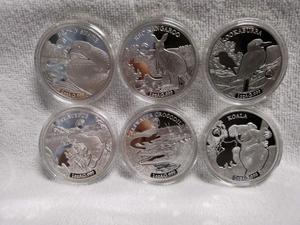 6 шт./лот 2019 австралийские монеты ELIZABETH II, австралийская коала, змея 1 унция, коллекционная Серебряная монета с животными, 2019