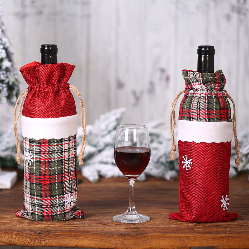 Christmas Wine Bottle Cover Bag Christmas Dinner Party Decoration For Home Table Kitchen New Year Santa Clause Snowman
