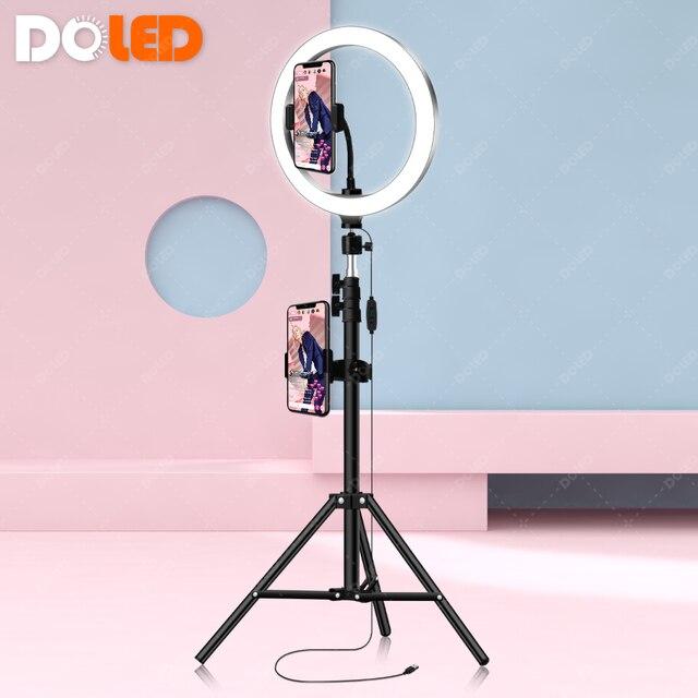 """DOLED 10 """"Selfie LED Ring Light con supporti per telefono treppiede 1.6m per Youtube per Studio fotografico flusso di illuminazione Video fotografica"""