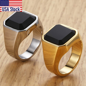 Men's Ring Rock Punk Smooth 316L Stainless Steel Black CZ Gold Silver Color Hip Hop Rings For Men Party Jewelry Wholesale KHRM63 1