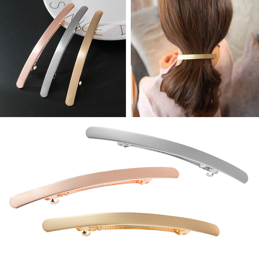 Automatic Smooth Spring French Barrette Slim Bridal Prom Hair Clip Hairpin Headwear For Women Girls