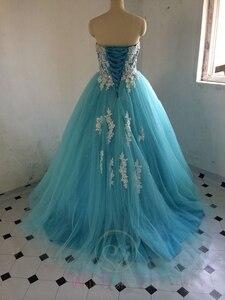 Image 4 - במלאי מתוקה כחול Quinceanera שמלות כדור כותנות עם אפליקציות תחרה עד מתוקה 16 שמלות Vestidos דה 15 שנים המפלגה שמלות