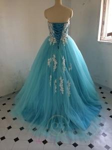 Image 4 - 재고 있음 Sweetheart Blue Quinceanera Dresses 아플리케가있는 볼 가운 Sweet 16 Dresses Vestidos De 15 Years Party Gowns