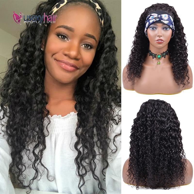 "Headband Wig Human Hair 180 Density 30"" Inch Afro Kinky Curly Scarf Wigs No Gel Glueless Brazilian Remy Half Wig Easy To Install"