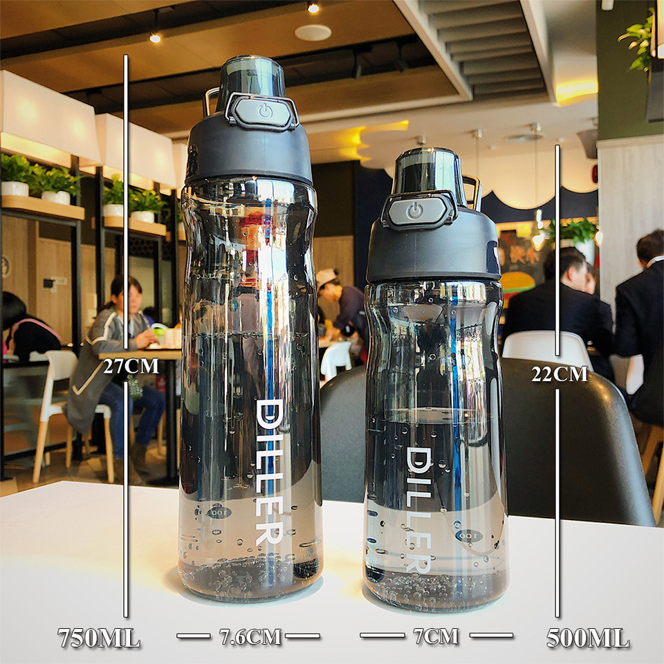 Hb5131be088004397b43b155c6b42f18ap DILLER Water Bottle Popular Gray Men Outdoor Sport Travel My Drink Bottle Portable Leakproof Plastic Milk fruit gym Bottles