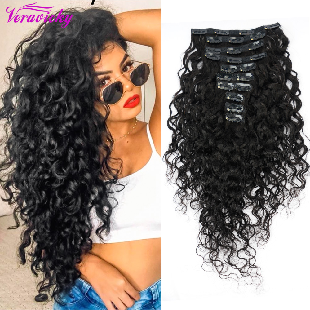 Veravicky 140G Clip In Extensions Human Hair Brazilian  Machine Made Remy Human Hair Natural Wave Clip Ins