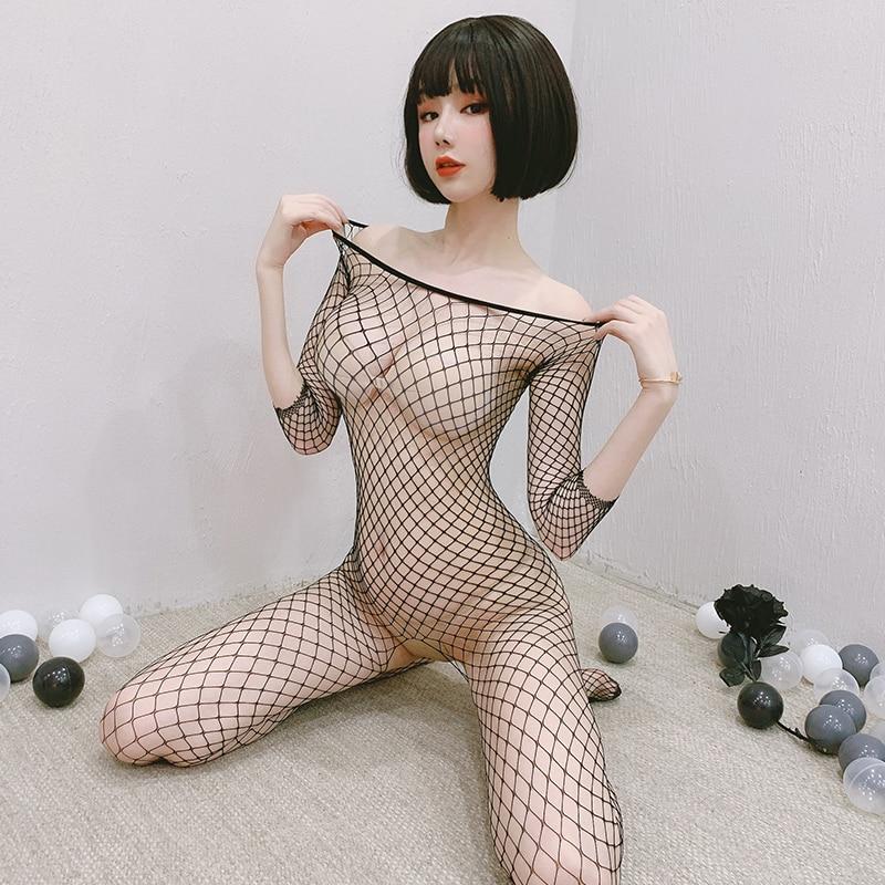 Fishnet Bodys Catsuit Frauen Transparent Öffnen Gabelung Sex Kleidung Sehen Durch Körper Strümpfe Mesh Mesh Heißer Erotische Dessous