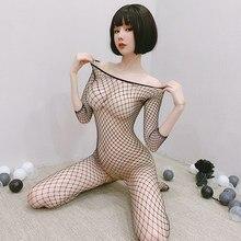 Fishnet Bodysuits Catsuit bayan şeffaf açık Crotch seks elbise See Through vücut çorap örgü sıcak erotik iç çamaşırı