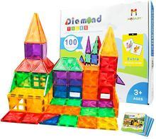 32 60 100 pces crianças construção educacional 3d blocos de construção telhas magnéticas brinquedos para crianças