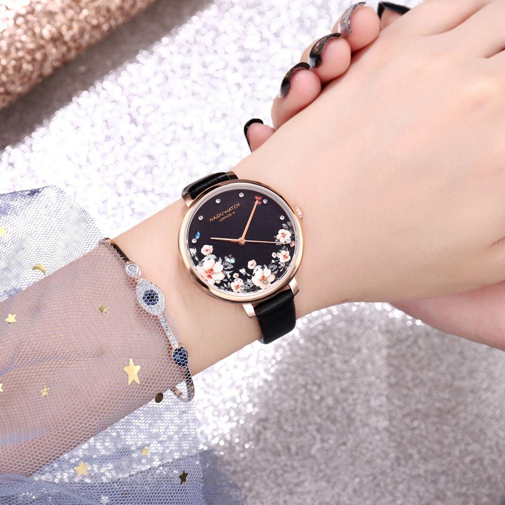 Women Flower Print Faux Leather Strap Round Dial No Number Analog Quartz Watch Reloj <font><b>mujer</b></font> Round Dial Adjustable Relojes de puls image