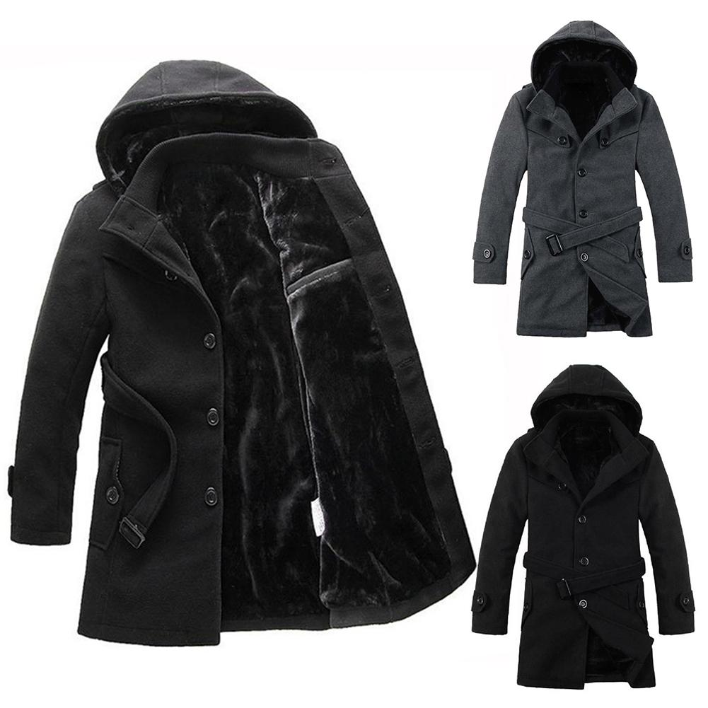 Winter Coat Men Long Sleeve Hooded Windbreaker Coat Fashion British Business Thick Cashmere Warm Long Coat