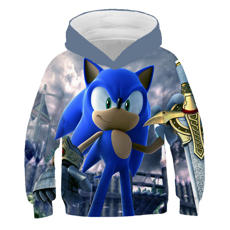 Super Sonic 3d baby Hoodies Children Clothes long sleeves Pullover Cartoon Sonic the Hedgehog Sweatshirt Harajuku streetwear image