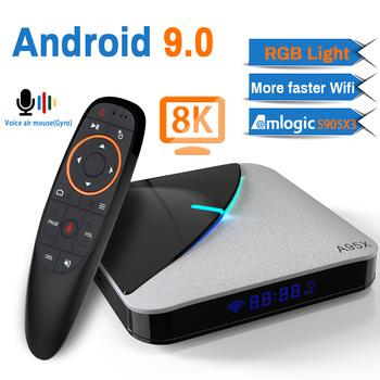 Transpeed A95X F3 Air 8K Android 9 0 TV pudełko Amlogic S905X3 4K Google Voice Assistant wifi 4GB 16GB 32GB 64GB RGBLight TV pudełko tanie i dobre opinie 100 M CN (pochodzenie) Amlogic S905X3 Cortex-A55 64 GB eMMC Brak 4G DDR3 A95X Air 0 35 DC 5 V 2A Karty TF Do 32 GB Mail-G31 MP2