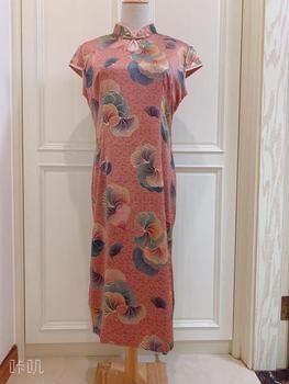 Woman Elegant Oriental Chipao Traditional Chinese Clothing Lace Cheongsag Fashion Qipao Silk Ink Danqing