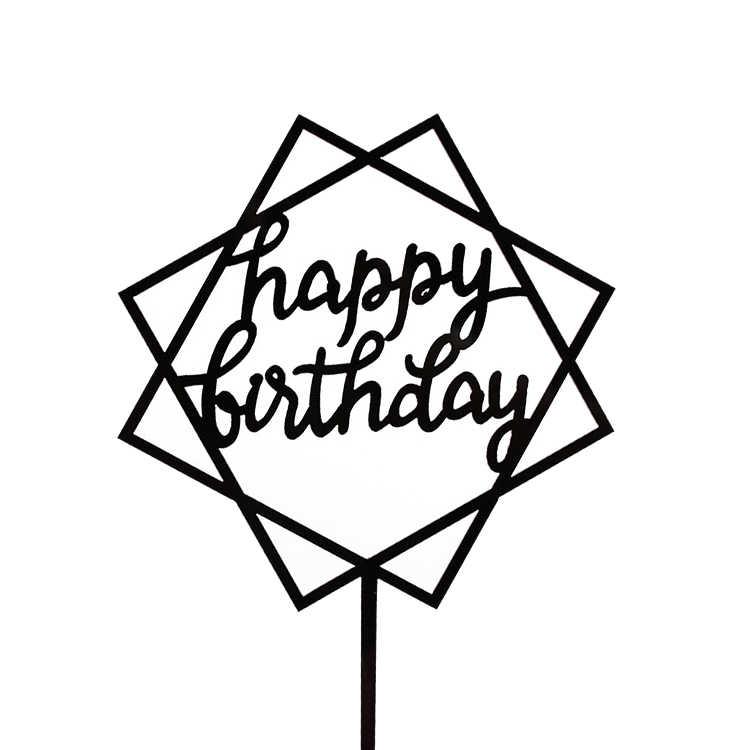 1pc acrílico copo bolo topper feliz aniversário bolo topper inserção chá de fraldas bolo bandeiras festa de aniversário da família decoração de casamento