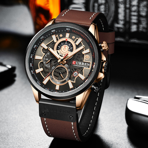 Image 5 - Curren relógio masculino moda quartzo relógios pulseira de couro esporte quartzo relógio de pulso cronógrafo masculino design criativo dial