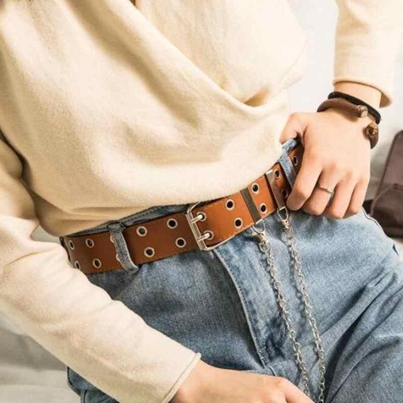 Новинка 2019, ремень в стиле панк для мужчин и женщин, корейская мода для джинсов декоративные штаны с натоптышами и цепочкой, уличный крутой черный пояс из искусственной кожи