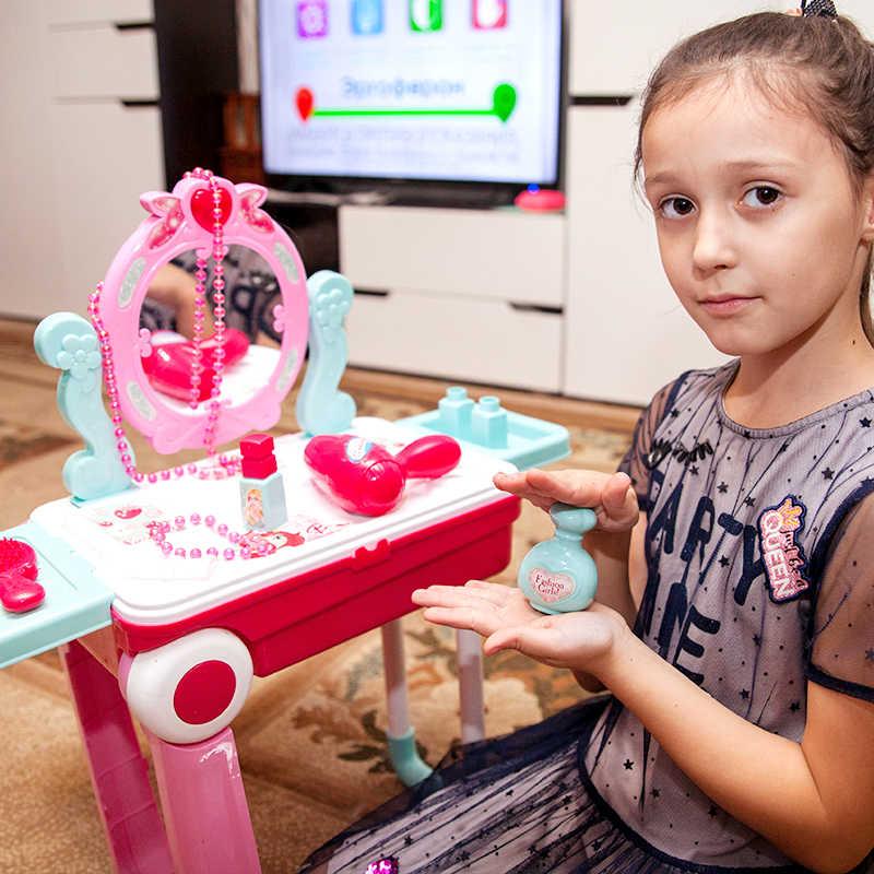 19 個女の子ライトアップおもちゃプラスチックセットふりプレイ王女ゲームピンクマニキュア口紅変更スーツケースおもちゃ子供のための
