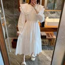 2021 Spring Autumn Sweet Women Dress Flounced Edge Flare Sleeve Lapel Peter Pan Collar Cotton Dresses Princess Chic Clothes