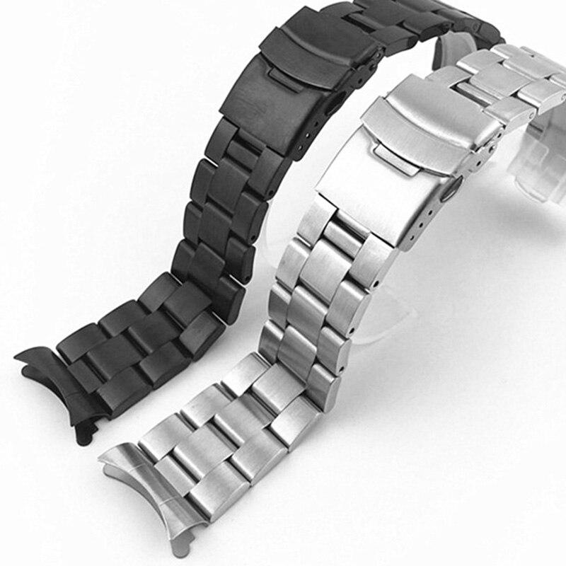 20 мм 22 мм нержавеющая сталь часы ремешок браслет ремешок изогнутые концы Браслет Бабочка полый изогнутый конец|Ремешки для часов|   | АлиЭкспресс