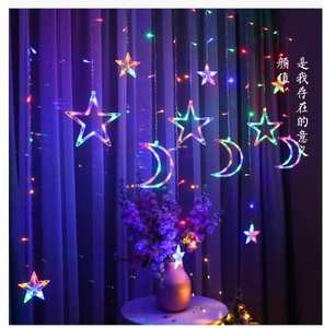 Lamp Curtain Background-Decoration Wedding-Net Heart-Products Window-Star LED Small-Shop