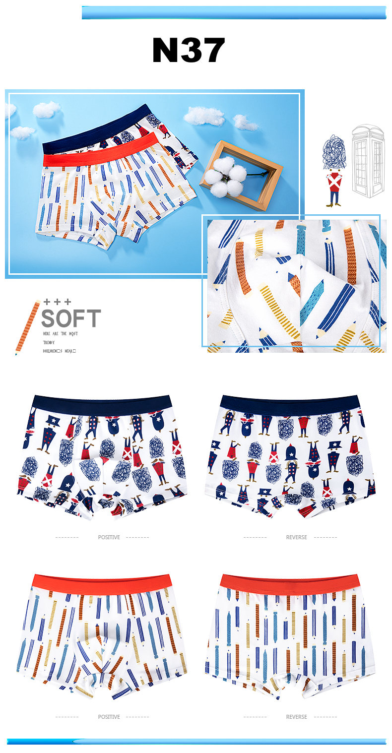 4 Pcs High Quality Children's Underwear for Kids Cartoon Cat Shorts Soft Cotton Underpants Boys Teenage Striped Panties 4-16T