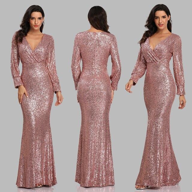 فستان سهرة جديد مثير بحورية البحر ذو رقبة على شكل V فستان رسمي طويل للحفلات الراقصة كامل الترتر طويل الأكمام 3