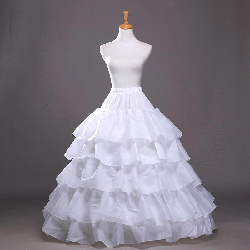 Hot Ball Gown Petticoat 4 Hoops 5 Layers Bridal Petticoats Wedding Dress Underskirt Crinolines White Black Wedding Accessories