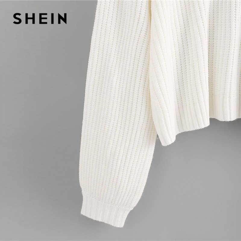 Shein Putih Drop Bahu Lentera Lengan Besar Jumper Solid Sweater Wanita Tinggi Musim Dingin Leher Kasual Sweater