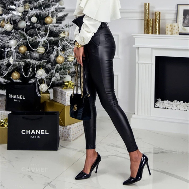 InstaHot Gold Black Belt High Waist Pencil Pant Women Faux Leather PU Sashes Long Trousers Casual Sexy Exclusive Design Fashion 21