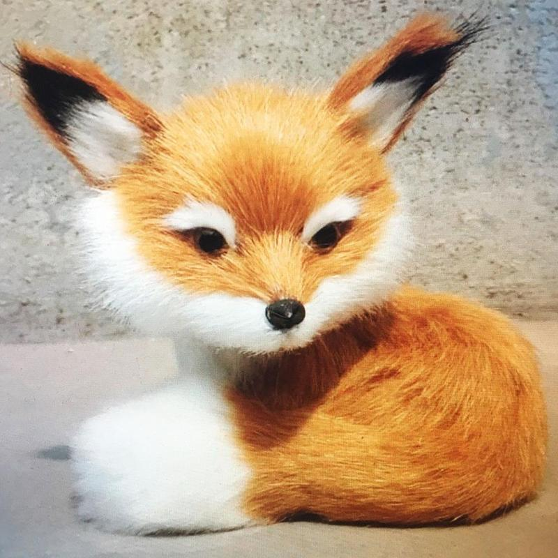 1pc Simulation Animal Toy Plush Cute Little Fox Model Toy Simulated Fox Plush Doll For Decoration Children Birthday Gifts