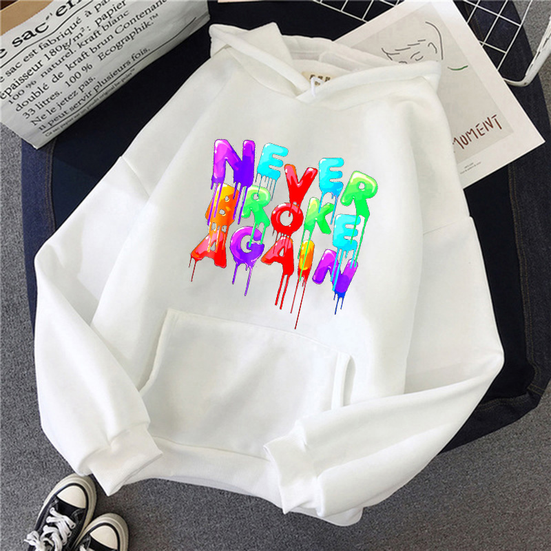 New Female Hodies Colorful Never Broke Again Printed Hoodies Women Letter Sweatshirts Hooded Autumn Winter Fashion Pullover Tops