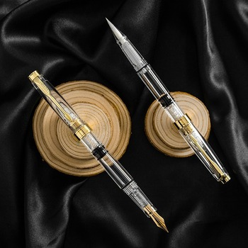 Transparent Piston Fountain Pen Ink Calligraphy Brush Student Stationery School Supplies Calligraphy Nib EF Writing Supplies wing sung piston fountain pen transparent ink pen m nib golden clip stationery student office school supplies writing gift