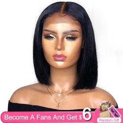 Aircab 13x6 dentelle avant Bob perruques droite brésilienne couleur naturelle Remy cheveux humains partie profonde dentelle perruques courtes pour les femmes noires