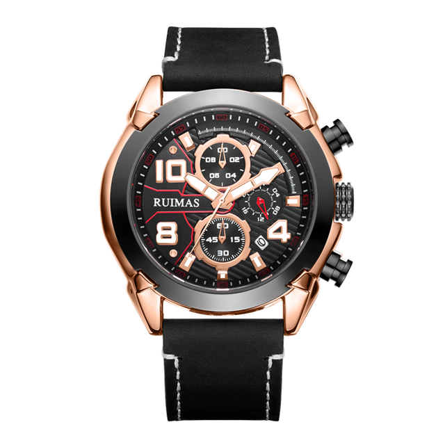 RUIMAS Watches Men Sports Luxury Leather Brand Watches Waterproof Quartz Men Military Wrist Watch Clock Male Relogio Masculino | Fotoflaco.net