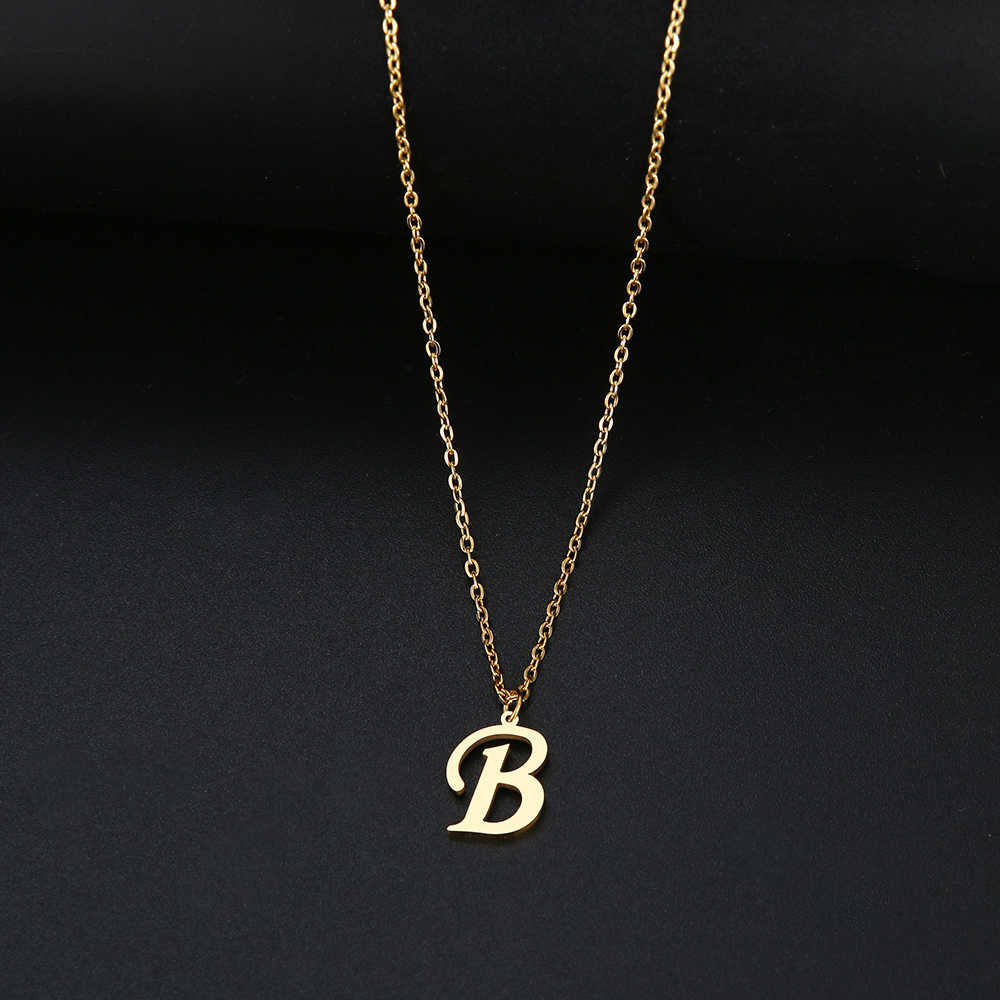 DOTIFI untuk Wanita A-Z Alfabet Huruf Liontin Kalung Personalisasi Stainless Steel Kalung Glamour Perhiasan