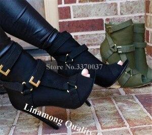 Image 2 - 新デザイン女性のファッションピープトウスエード革小剣のブーツバックルストラップ黒アーミーグリーンハイヒールの足首ブーツ