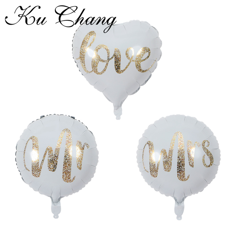 18inch Round White Gold Glitter Print Mr&Mrs LOVE foil Balloons bride to be marriage Wedding Valentine's Day Air Globos Supplies 6