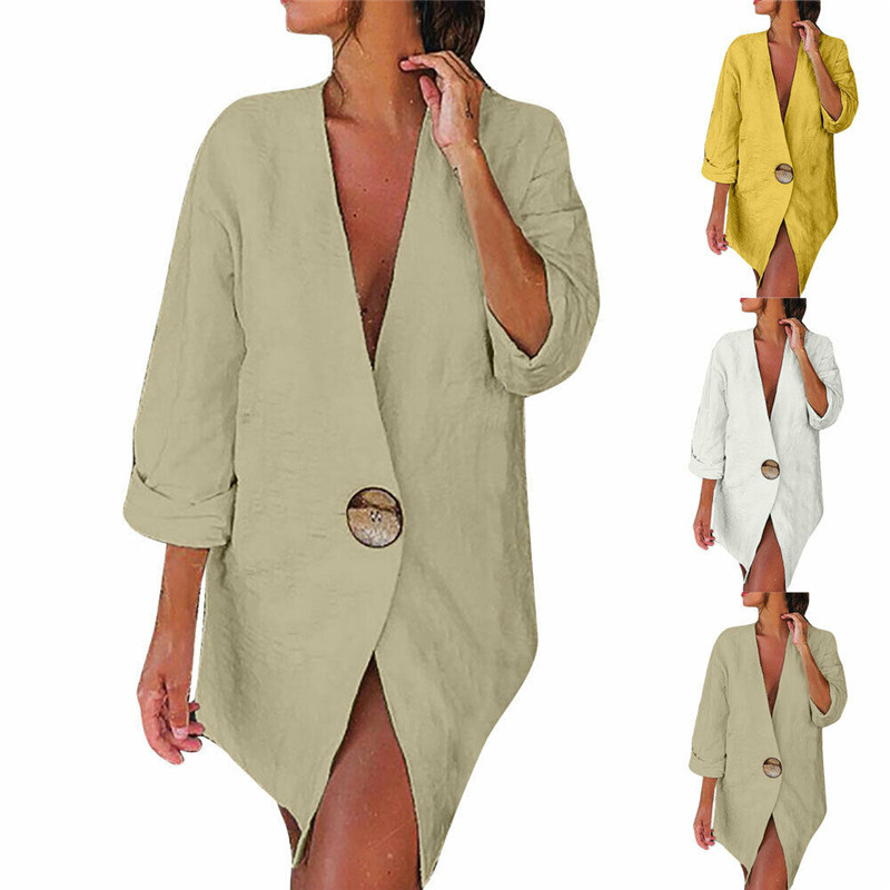 2020 Casual Cotton Linen One Button Work Office Blazer Long Sleeve V Neck Open Front Loose Blazers Fashion Ladies Jacket