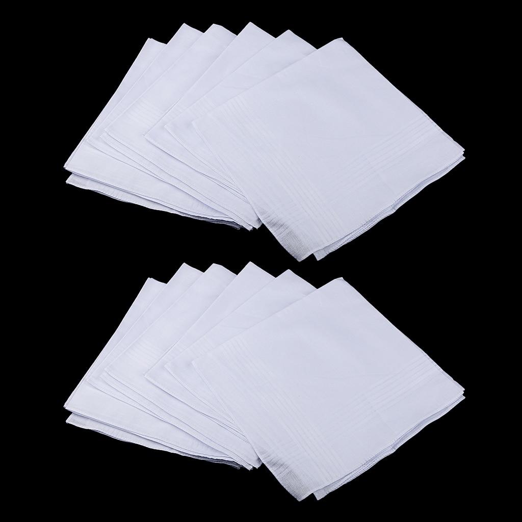 24x Solid Cotton Men's Handkerchiefs Soft White Pocket Square Hanky Reusable 41cm Women Handkerchief Kids