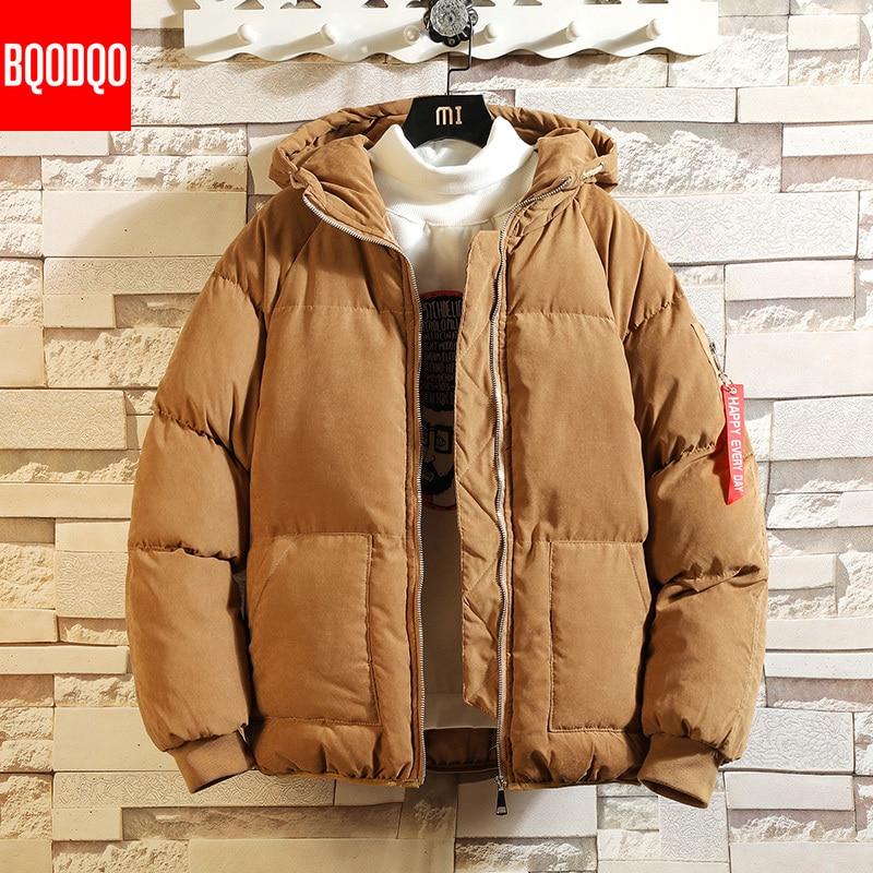 Blouson aviateur à capuche hiver Parka homme kaki Preppy coton façon soie vestes noir japonais Hip Hop Streetwear thermique manteau homme