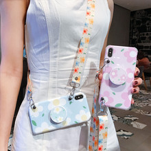 GYKZ Cartoon Flower Lanyard Phone Case For iPhone 7 XR X XS MAX 8 6 6s Plus Grip Stand Holder Back Cover 10 Fundas